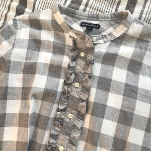 J. Crew Plaid Ruffle Front Flannel